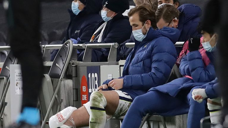 Kane was withdrawn late on and ice was applied to his knee