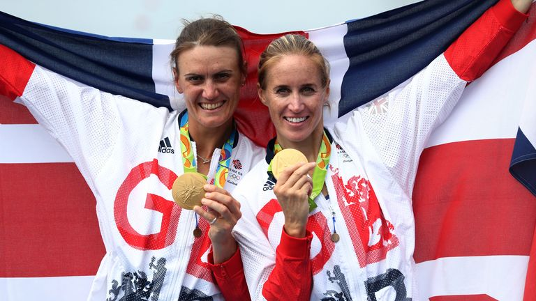 Helen Glover, right, won the women's pair rowing event at the Rio 2016 Olympics with Heather Stanning