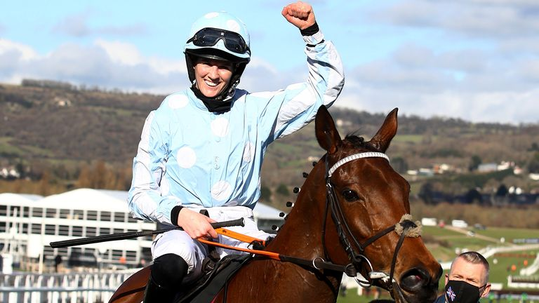 Rachael Blackmore onboard Honeysuckle celebrates after victory in the Unibet Champion Hurdle