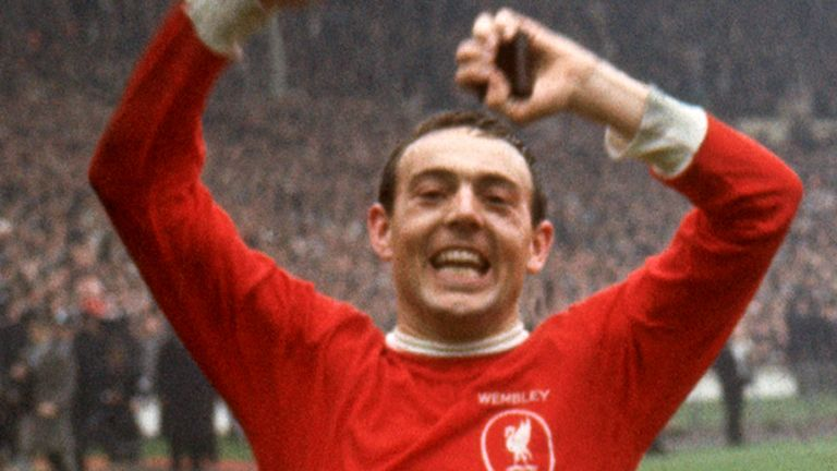 Ian St John celebrates at Wembley after scoring the winning goal for Liverpool in the 1965 FA Cup final