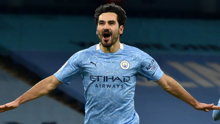 Ilkay Gundogan scored four goals as Man City won all five of their Premier League fixtures in February