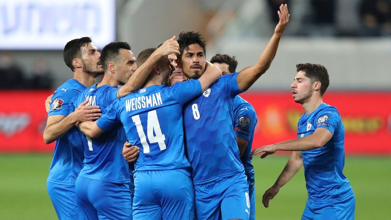 Israel's players celebrate during scoring a goal against Scotland