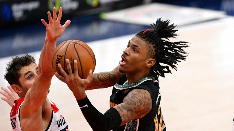AP - Memphis Grizzlies guard Ja Morant (12) goes to the basket against Washington Wizards guard Raul Neto