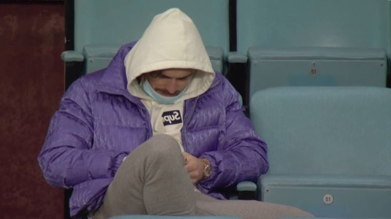 Aston Villa midfielder Jack Grealish was in the stands during the draw