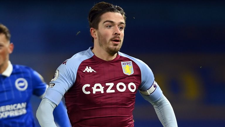 Jack Grealish last played for Aston Villa against Brighton on February 13