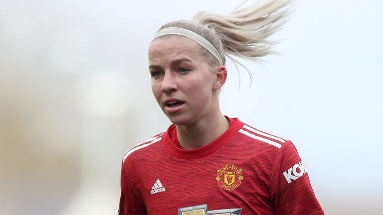 Manchester United's Jackie Groenen during the FA Women's Super League match at Leigh Sports Village.