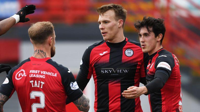 Jamie McGrath celebrates his goal to make it 1-0 St Mirren at the FOYS Stadium