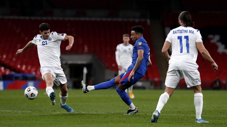 Jesse Lingard in action for England against San Marino