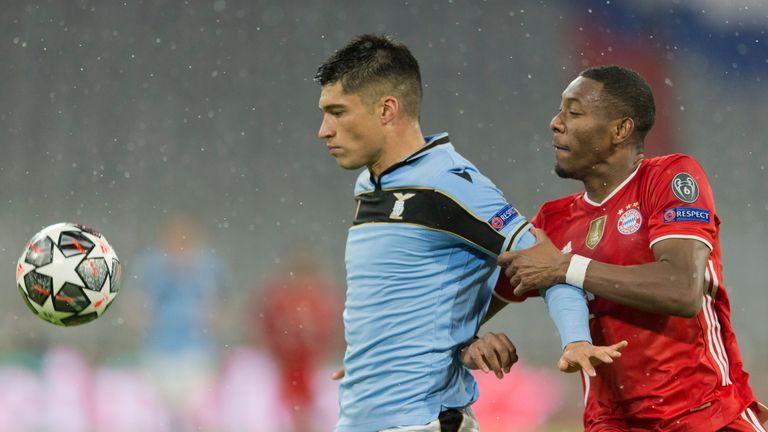 Joaquin Correa duels with David Alaba during Wednesday's second leg
