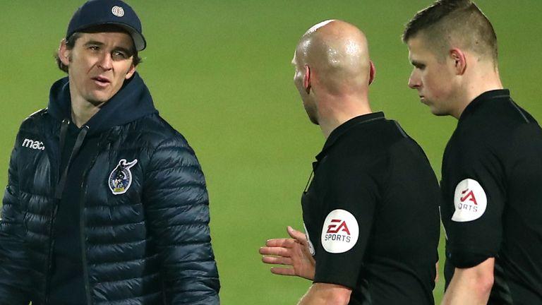 Bristol Rovers boss Joey Barton speaks to referee (PA)