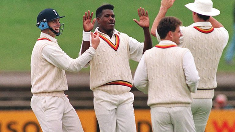 Joey Benjamin celebrates a wicket on the 1994-95 England tour of Australia