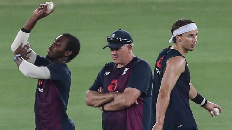 Fast bowler Jofra Archer in training ahead of the first T20 against India, watched by England head coach Chris Silverwood