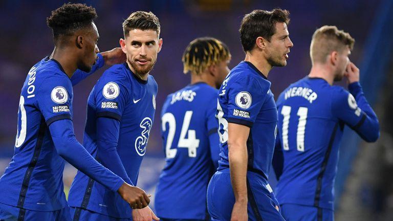 Jorginho celebrates with Chelsea team-mates after scoring against Everton