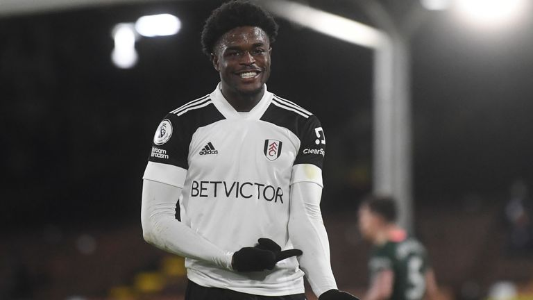 Josh Maja points to his arm after his goal was ruled out for handball