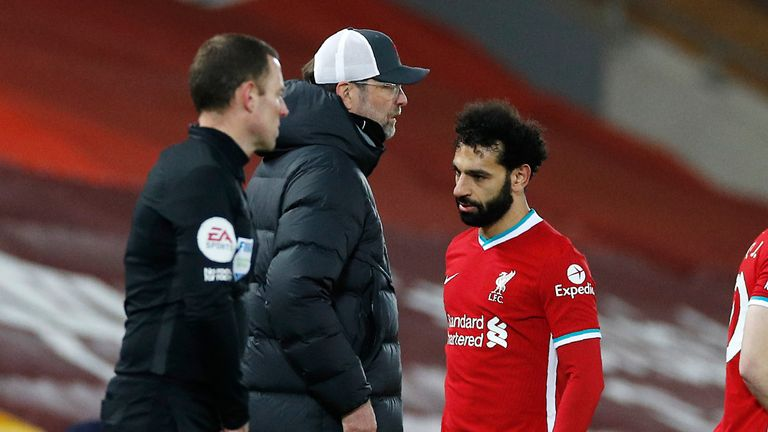 Mohamed Salah was hauled off shortly after the hour-mark at Anfield