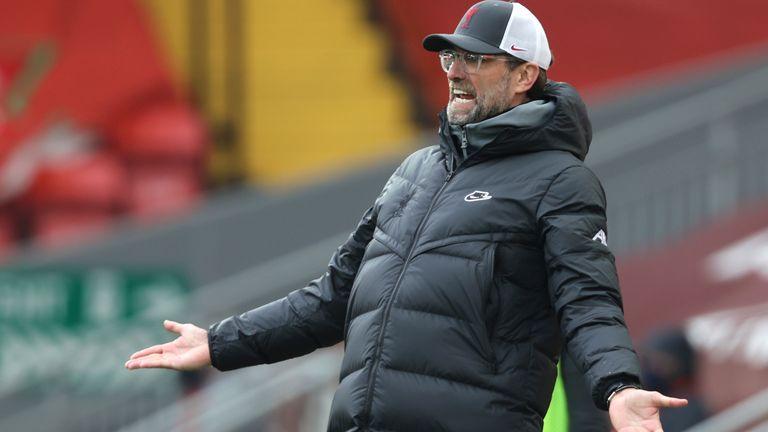 Jurgen Klopp gestures Liverpool's 1-0 defeat to Fulham at Anfield