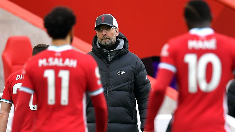 Jurgen Klopp pictured at full-time following the 1-0 defeat to Fulham