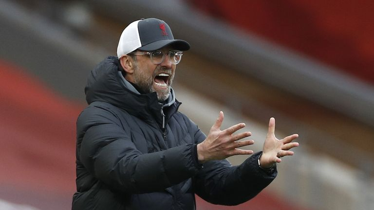 Liverpool manager Jurgen Klopp gestures on the touchline during the Premier League match at Anfield, Liverpool. Picture date: Sunday March 7, 2021.