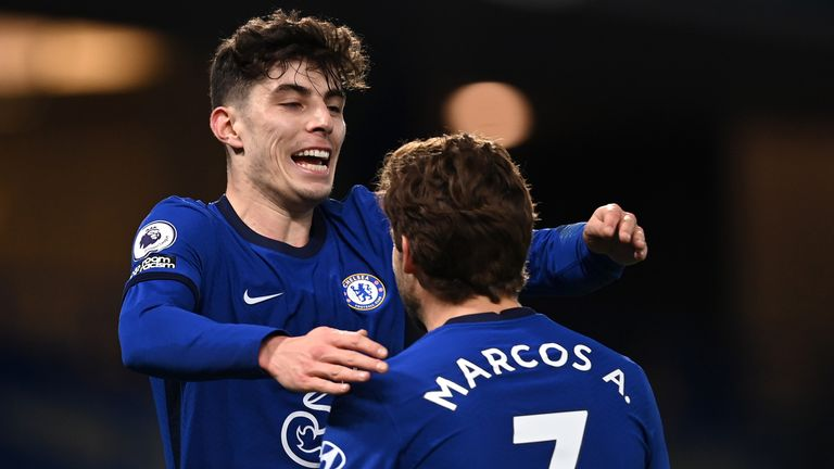 Kai Havertz celebrates with Marcos Alonso after scoring for Chelsea vs Everton
