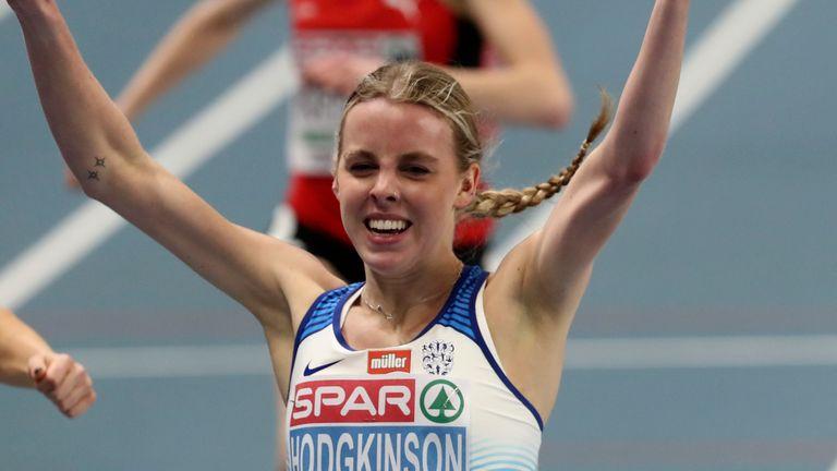Hodgkinson held Polish pair Joanna Jozwik and Angelika Cichocka at bay to win European Indoor gold