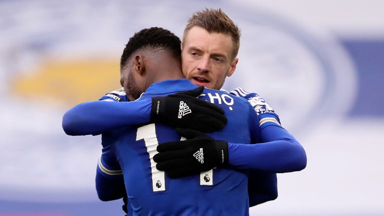 Kelechi Iheanacho and Jamie Vardy celebrate after combing to give Leicester a 1-0 lead (AP)