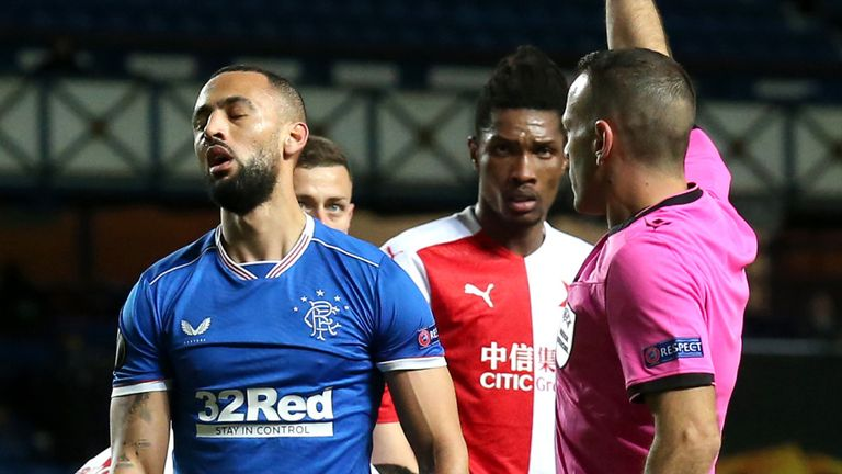 Rangers striker Kemar Roofe is sent off