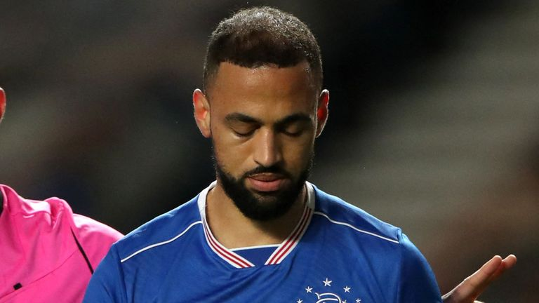 Rangers striker Kemar Roofe walks off the pitch after being sent off in the Europa League last-16 second tie against Slavia Prague