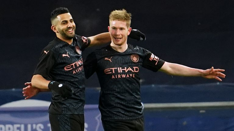 Kevin De Bruyne celebrates after wrapping up the win late on