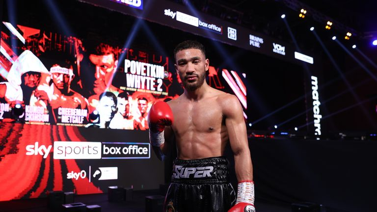 Youssef Khoumari v Kane Baker, Super Featherweight Contest. 27 March 2021 Picture By Mark Robinson Matchroom Boxing Youssef Khoumari celebrates his win.