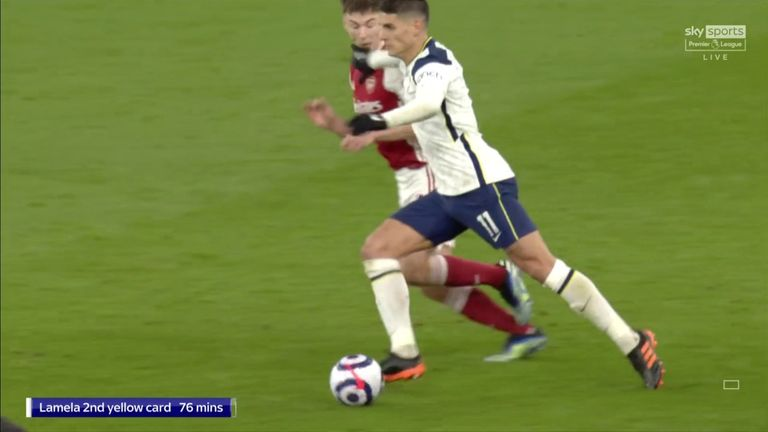 Erik Lamela was shown a second yellow card and sent off for this foul on Kieran Tierney