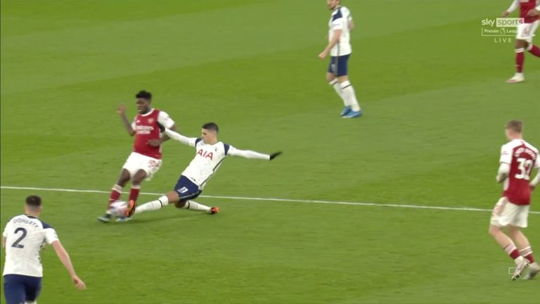 Erik Lamela picked up his first yellow card for this tackle on Thomas Partey