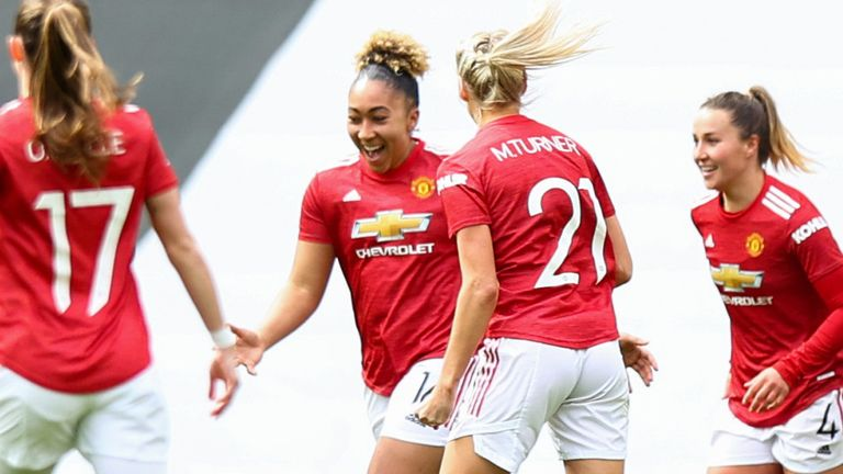 Lauren James celebrates after giving Man Utd the lead against West Ham