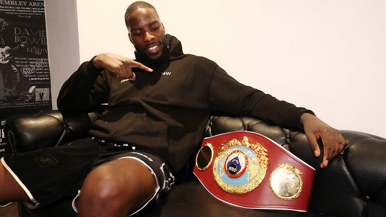 *** FREE FOR EDITORIAL USE ***.Lawerence Okolie vs Krzysztof Glowacki, WBO Crusierweight Title Contest, SSE Wembley Arena..20 March 2021.Picture By Mark Robinson Matchroom Boxing. .Lawerence Okolie celebrates with his belt after his win.