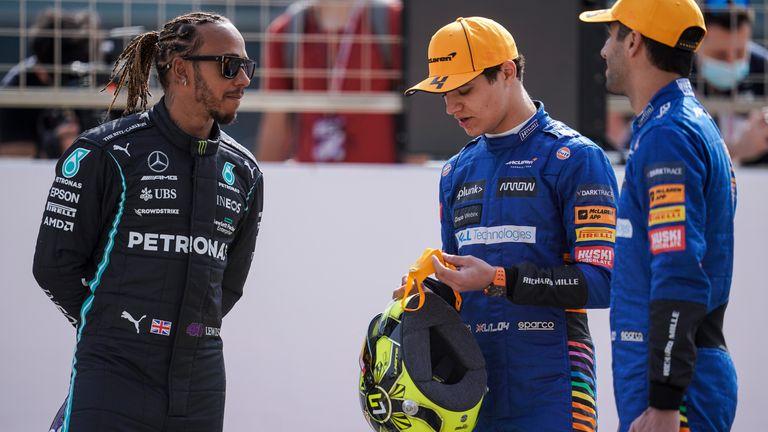 Lewis Hamilton chats to McLaren's Lando Norris and Daniel Ricciardo on Friday