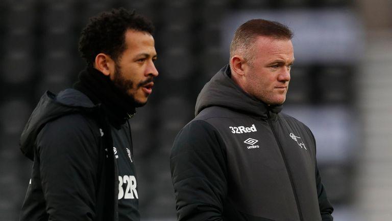 Derby assistant coach Liam Rosenior alongside manager Wayne Rooney