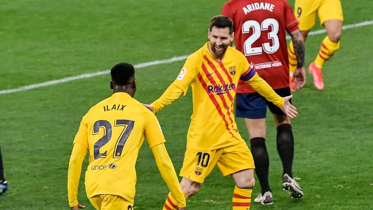 Lionel Messi laid on two assists during Barcelona's win over Osasuna