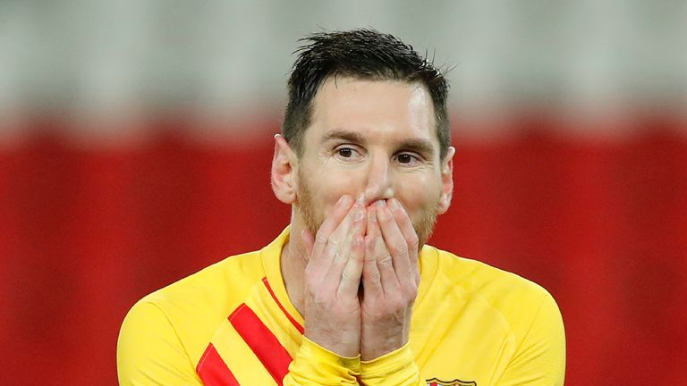 Barcelona's Lionel Messi reacts after a missed a penalty
