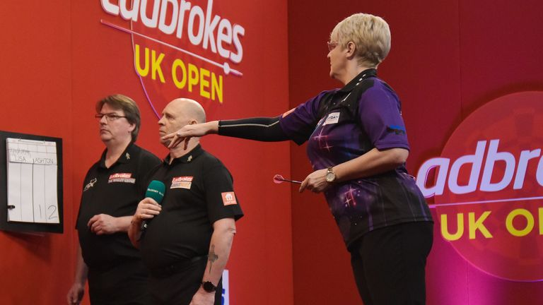 Lisa Ashton in action on day one of the UK Open