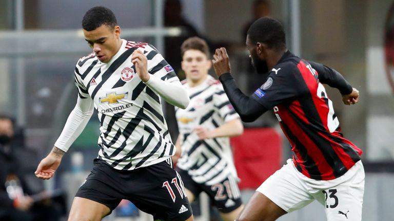 Mason Greenwood and Fikayo Tomori battle for the ball in the Europa League