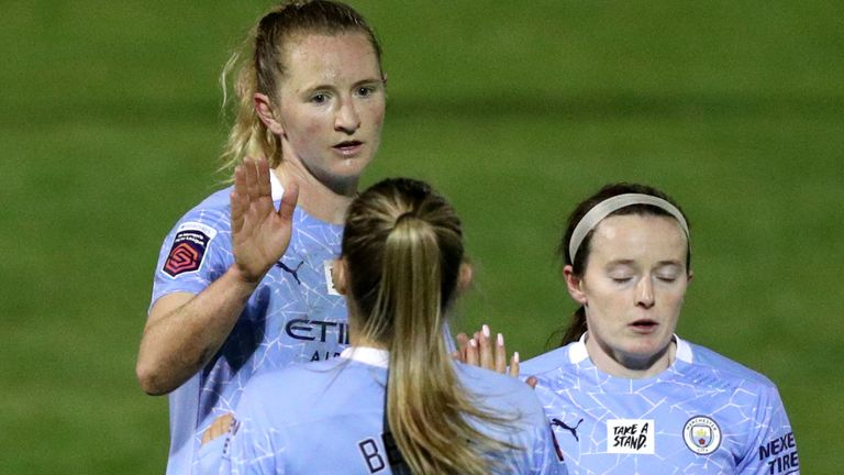 Manchester City celebrate Sam Mewis scoring the final goal in their 3-0 win at Bristol City (PA)
