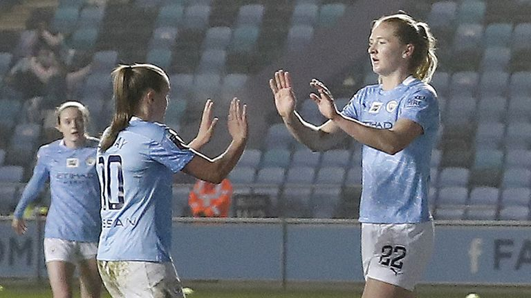 Manchester City's Sam Mewis celebrates with team-mate Georgia Stanway