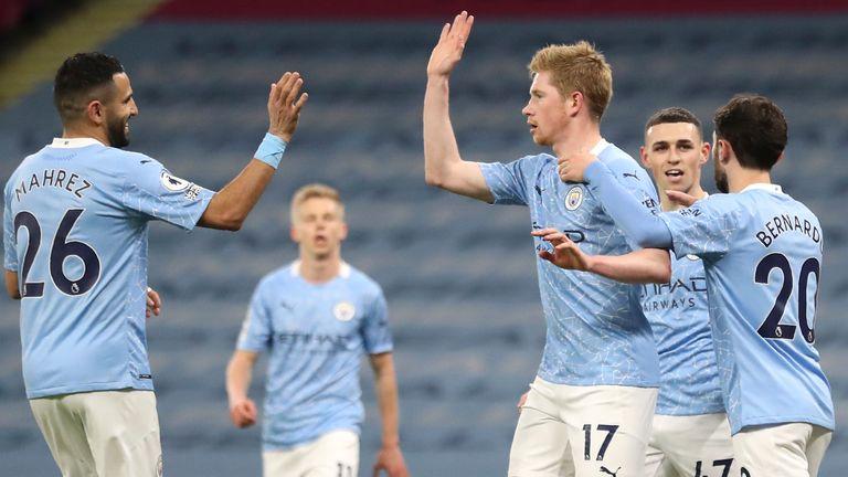 Man City celebrate a goal against Southampton