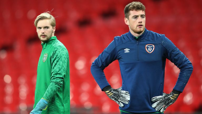 Liverpool goalkeeper Caoimhin Kelleher (L) is out injured, with Bournemouth's Mark Travers (R) set to start for Ireland on Wednesday