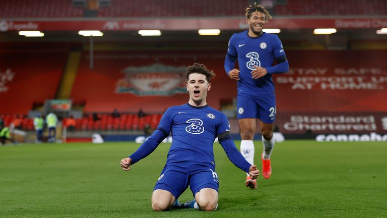 Mason Mount celebrates his goal late in the first half (AP)