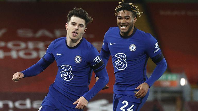 Mason Mount celebrates his goal with Reece James