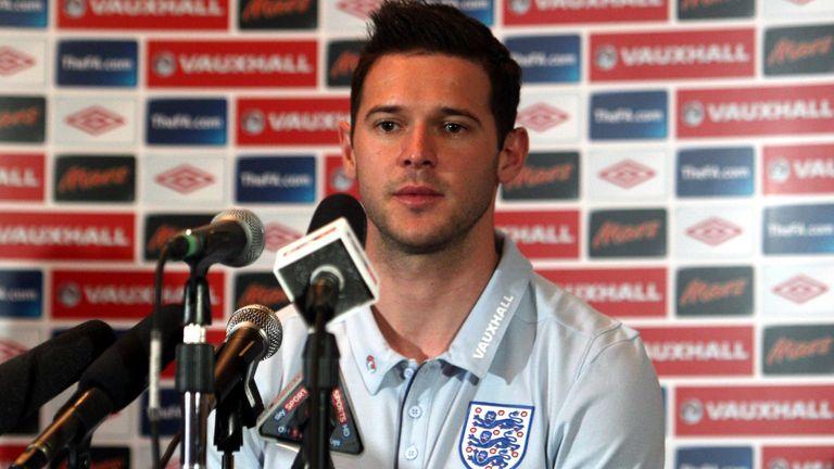 Matt Jarvis speaks to the media before his England debut against Ghana in 2011