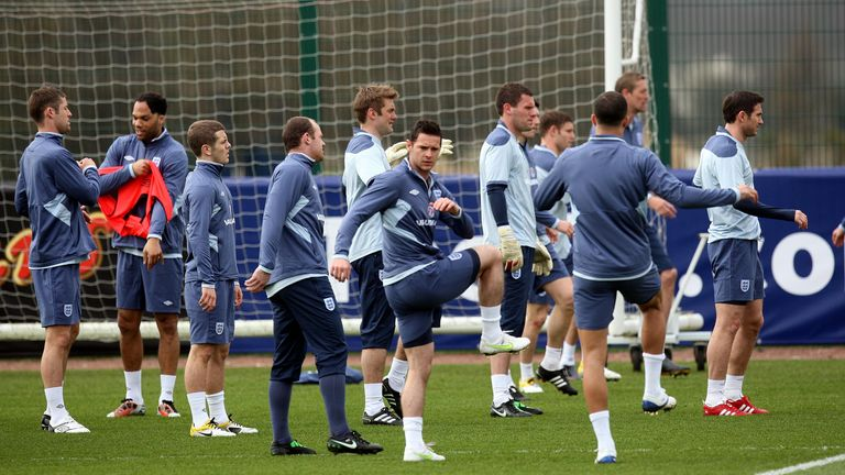 Matt Jarvis training with the England team before the game against Ghana in 2011