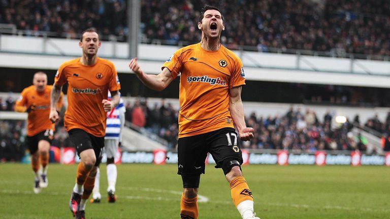 Matt Jarvis celebrates scoring for Wolves against QPR