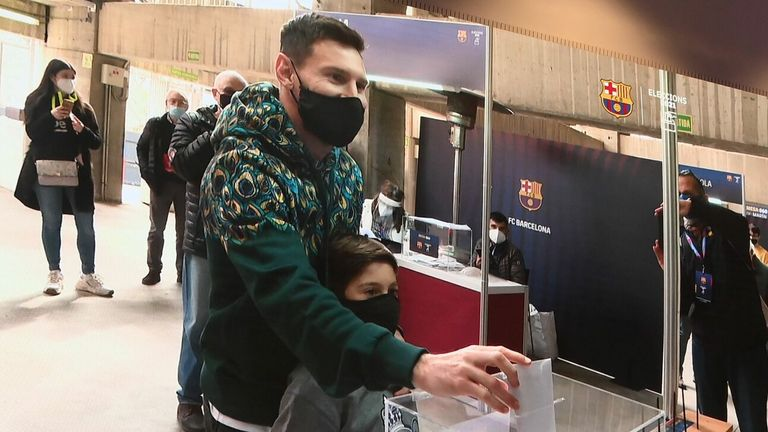 GETTY - Lionel Messi arrived with his son as he cast his vote in the Barcelona presidential election