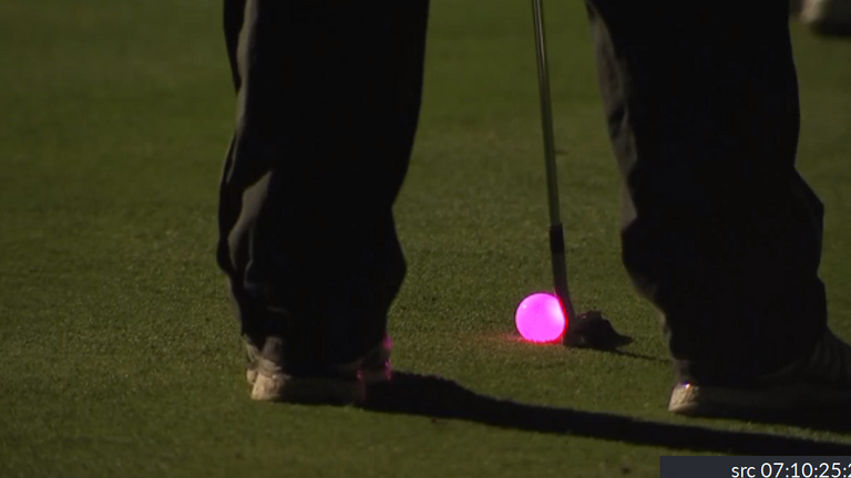 Golfers used a light-up ball when they teed off at midnight on March 29